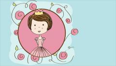 Cute princess Video animation Stock Footage