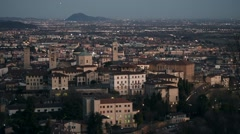 Bergamo, Italy - Aerial view of the old city (Città Alta) Stock Footage