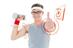 Composite image of geeky hipster posing in sportswear with dumbbell - stock illustration