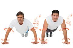 Composite image of portrait of two young men doing push ups Stock Illustration