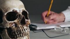 Studying human bones 3 Stock Footage