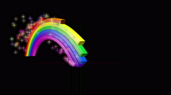 A 4k animation of a  rainbow animating onto the screen with colored particles Stock Footage