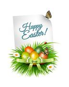 Spring Easter background. Easter eggs in grass with flowers. Vector. Stock Illustration