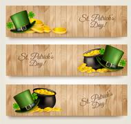 Three Saint Patrick's Day banners with lover leaves, green hat and gold coins Stock Illustration