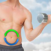 Composite image of fit shirtless man lifting dumbbell - stock illustration
