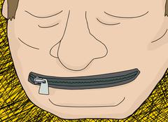 Zipper Covering Mouth Stock Illustration
