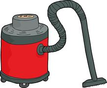 Isolated Red Wet-Dry Vacuum - stock illustration