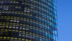 Lights Switch Corporate Building Glass Facade Skyscraper Windows Electricity Stock Footage