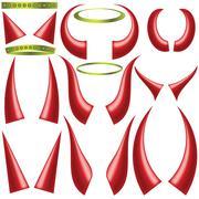 angels halo and devils horns - stock illustration