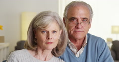 Serious portrait of mature couple - stock footage