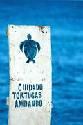 Sign with Spanish warning to the care of nests of sea turtles on Floreana, Galap - stock photo