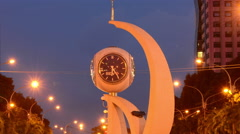Time Lapse of Busy Traffic Circle in Ho Chi Minh City Skyline at Night Stock Footage