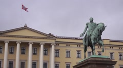 A view of the Royal Palace in Oslo Norway Stock Footage