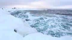 Greenland Sea - waves - Arctic - freezing water - Spitsbergen, Svalbard Stock Footage
