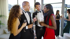 4K Attractive group of elegant friends drinking champagne at boat party Stock Footage