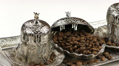 Roasted Coffee and Antique Anatolian Pot - stock footage