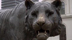 Tiger Statue at Central Station in Oslo Norway Stock Footage