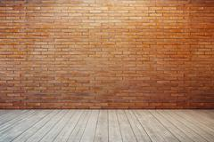 Empty room with red brick wall Stock Illustration