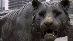 Tiger Statue in Oslo Norway - At Central Station Stock Footage