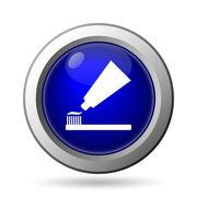 Tooth paste and brush icon. Internet button on white background.. Stock Illustration