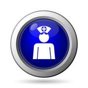 Stock Illustration of Nurse icon. Internet button on white background..