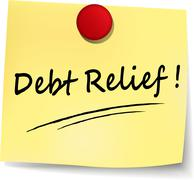 Debt relief yellow note Stock Illustration