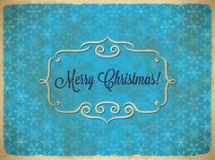 Aged Christmas vintage frame with snowflakes Stock Illustration