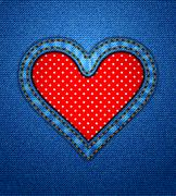 Jeans heart frame with polka dots Stock Illustration
