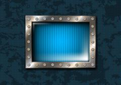 Metal window with rivets - stock illustration