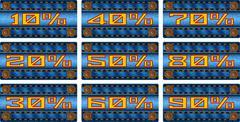 Set of sale percent labels on jeans Stock Illustration