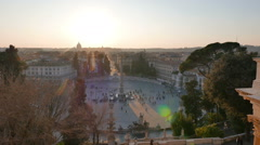 Piazza del Popolo at sunset. Panorama. Rome, Italy Stock Footage