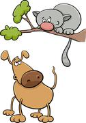 dog and cat cartoon illustration - stock illustration