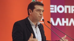 Alexis Tsipras Greek prime minister pre electional speech 2014 Stock Footage