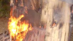 Burning Woodshed - stock footage