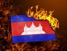 Flag burning - Cambodia Stock Photos