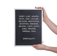 Stock Photo of Spirituality concept in plastic letters on very old menu board