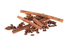 Dried Cinnamon, Anise. Isolated - stock photo
