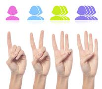 Female hand count one to four sign - stock photo