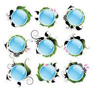 Set of bright vegetable aqua icons - stock illustration