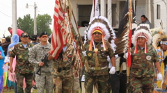 Pow wow Grand entry pull to wider Stock Footage
