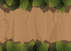 Wooden fence and lush foliage Stock Illustration