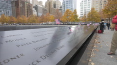 Names engraved on the National September 11 Memorial Fountain in New York Stock Footage