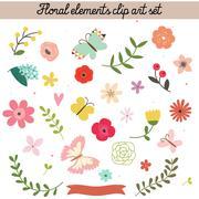 Floral elements clip art set Stock Illustration