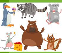 Stock Illustration of wild animals cartoon set illustration