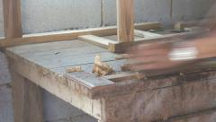 Carpenter working with planer Stock Footage