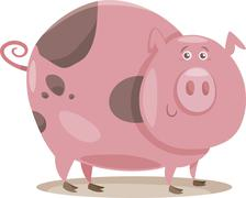Stock Illustration of pig farm animal cartoon illustration