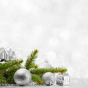 Firtree and christmas decor - stock photo