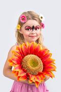 Face painting, ladybug - stock photo
