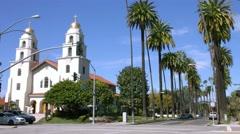 4K, UHD, Church on Santa Monica boulevard in Beverly Hills, Los Angeles Stock Footage