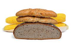Wheat bread with whole-grain bread roll - stock photo